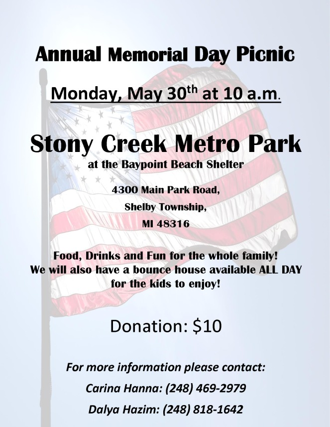 2016 Memorial Day Picnic Flyer